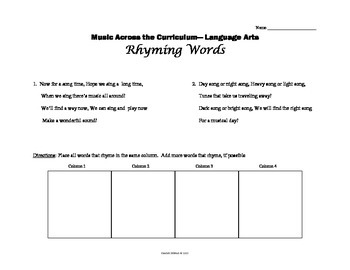 Music Across the Curriculum - Rhyming Words