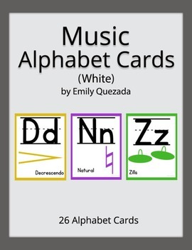 Music Alphabet Card Posters - White Background