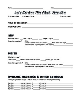 Music Analysis Form