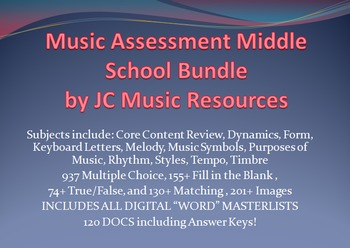 Premium Music Multiple Choice Test Question Bank MS Bundle