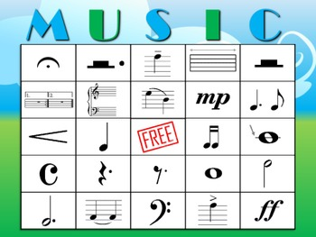 Music BINGO:  Notes, Symbols, and Terms