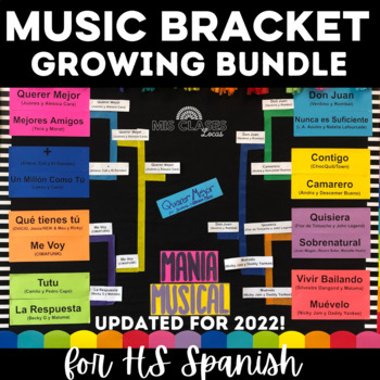 March Madness Music Bracket for Spanish Class - updated for 2017!