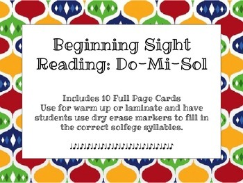 Music Cards: Beginning Sight Reading Sol-Mi-Do