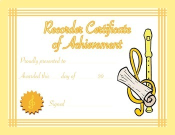 Music Certificates - Recorder Certificate of Achievement R