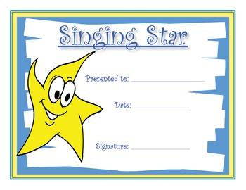 Music Certificates - Singing Star Reproducible Award Certificate