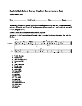 Music Chorus and Band Pre and Post Test