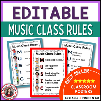 Music Decor: Class Rules EDITABLE Posters