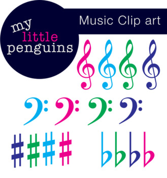 Music Clipart Treble Clef, Bass Clef, Sharp & Flat