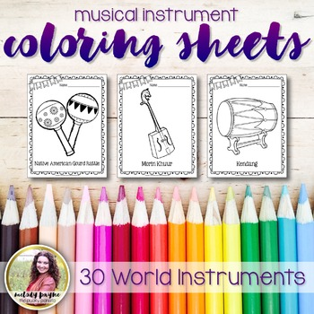 Music Coloring Sheets {30 Instruments from Around the World}