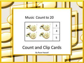 Music Counting to 20 Count and Clip Task Cards Interactive