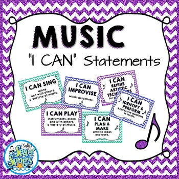 "Music ""I CAN"" Statements - Glitter & Chevrons"