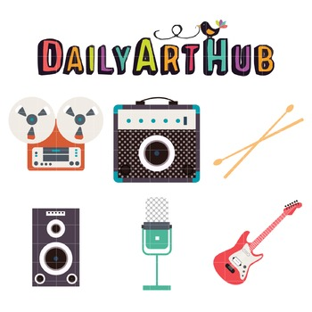 Music Instruments Clip Art - Great for Art Class Projects!