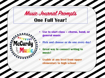 Music Journal Writing Prompts - Entire year!