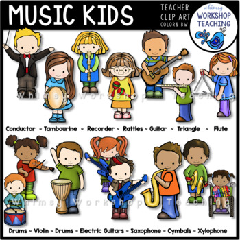 Music Kids Clip Art (15 Instruments Played) Whimsy Worksho