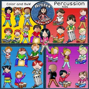 Music Kids-Percussion Clip Art BUNDLE SET