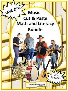 Music NO PREP/LOW Prep Math and Literacy Printables Kindergarten