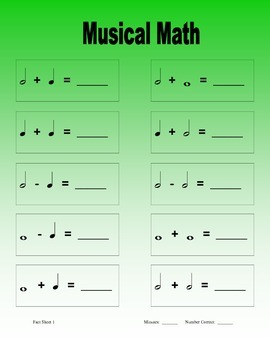 Music Theory Math: Add and Subtract Whole Half & Quarter Note Fun