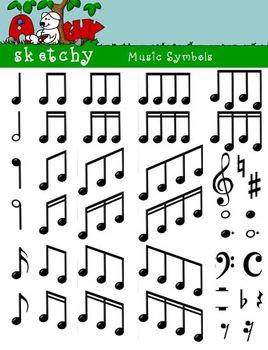 Music / Musical Symbols Clipart  / Graphics 300dpi