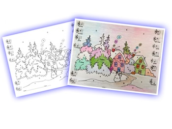 Music: Musical Winter in the Woods Treble Clef Color Sheet