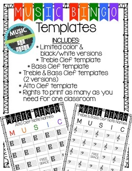 Music Note Name Bingo Templates