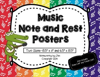 Music Note and Rest Posters {Rainbow, TWO sizes}