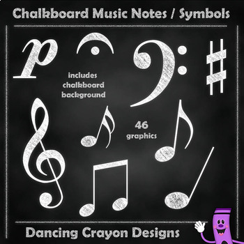 Music Notes - Chalk Style with Chalkboard Backgrounds - Clip Art