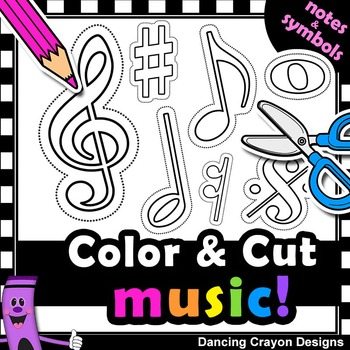 Music Notes with Cutting Lines