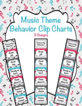 "Music ""Noteworthy"" Behavior Clip Charts (3 design options)"