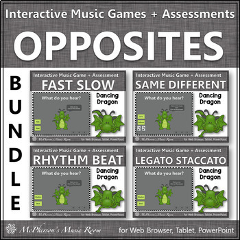 Music Opposites: Interactive Music Games + Assessments - S