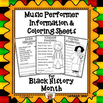 Music Performer Information & Coloring Worksheets for Blac