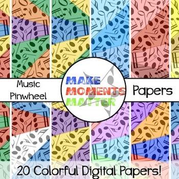 Music Pinwheels  --  A Digital Paper Pack!