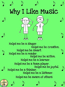 "Music Posters ""Why I Like Music"" Freebie Classroom Decor"
