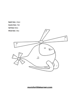 Music Rhythm Coloring Worksheet Helicopter
