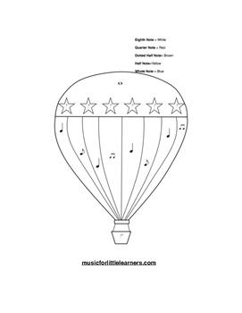 Music Rhythm Coloring Worksheet Hot Air Balloon