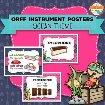 Music Room Essentials - Ocean Orff Instrument Posters