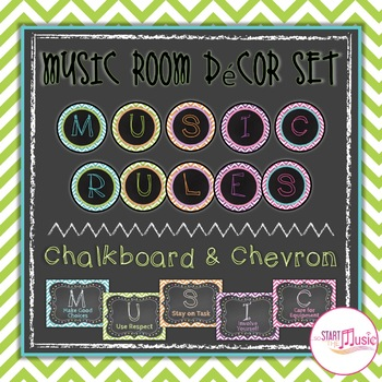 Music Rules - Chevron & Chalkboard Theme