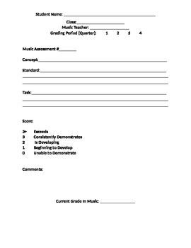 Music Standards Based Assessment Template