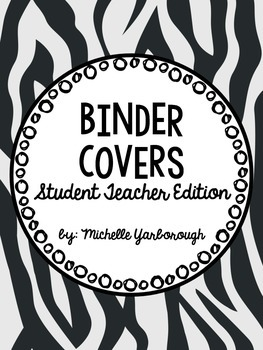 Music Student Teaching Binder Covers: Zebra Print