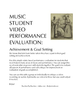 Music Student Video Performance Evaluation: Goal Setting a