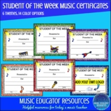 Music Student of the Week Certificates