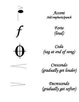 Music Symbols Flash Cards (to print)