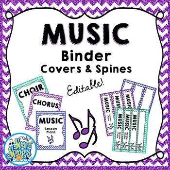 Music Teacher Binder Covers & Spines - Glitter & Chevrons