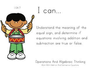 Music Theme 1st grade math Common Core Posters first Grade