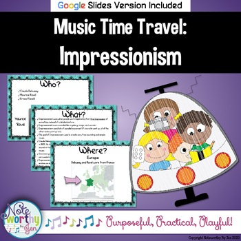 Music Time Travel:  Impressionism {Bulletin Board and Vide