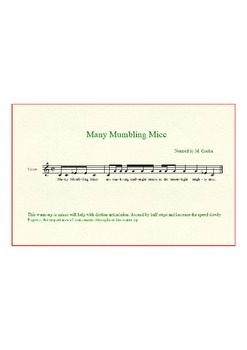 Music Warm-up Articulation- Many Mumbling Mice