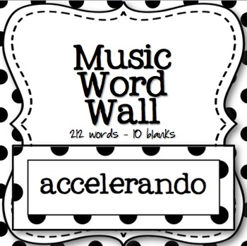 Music Word Wall (Black and White Polka Dot