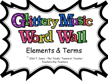Music Word Wall -  Elements and Terms Set in glittery lavender