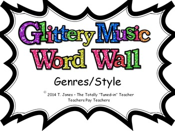 Music Word Wall -  Genres/Style Set in glittery lavender