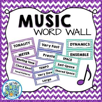 Music Word Wall - Glitter & Chevrons