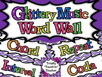 Music Word Wall - Glittery Music Mega Set in lavender